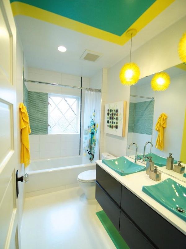 Banheiro Turquesa e Amarelo