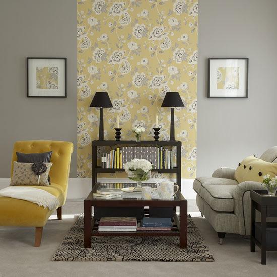 Papel de Parede Floral com Amarelo