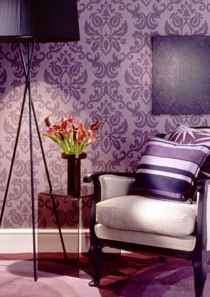 42 fotos de papel de parede para sala arquidicas - Wallpaper one wall in living room ...