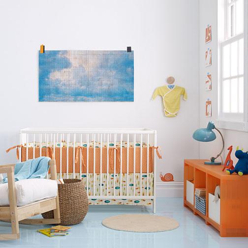 quarto de bebe laranja e azul