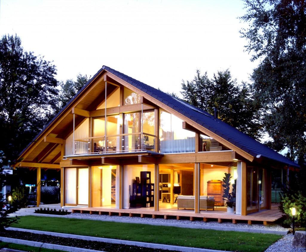 Casa de telhado com vidro