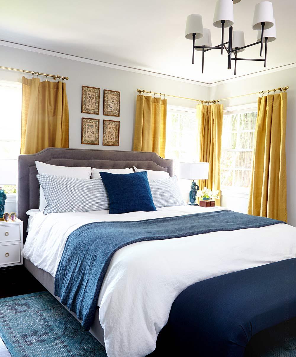 Azul Royal Decora O Arquidicas ~ Cortinas De Luxo Para Quarto E Quarto Amarelo E Branco