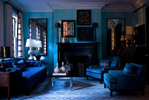 Sala com tons de azul