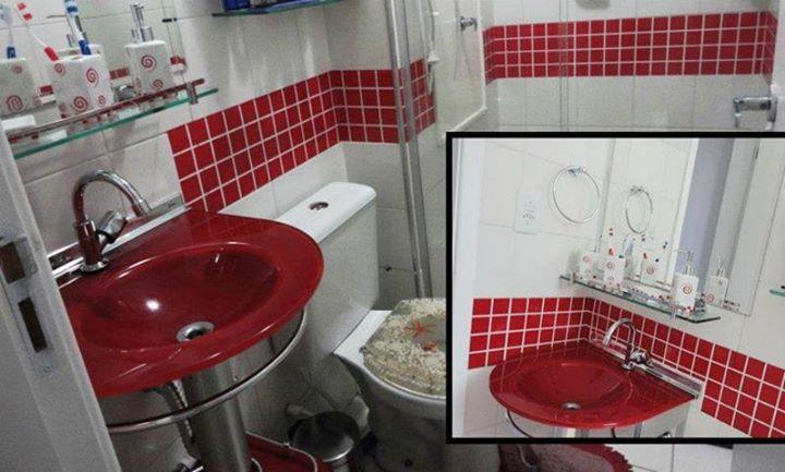 Pastilhas Adesivas Resinadas  Arquidicas -> Banheiro Com Azulejo Imitando Pastilha
