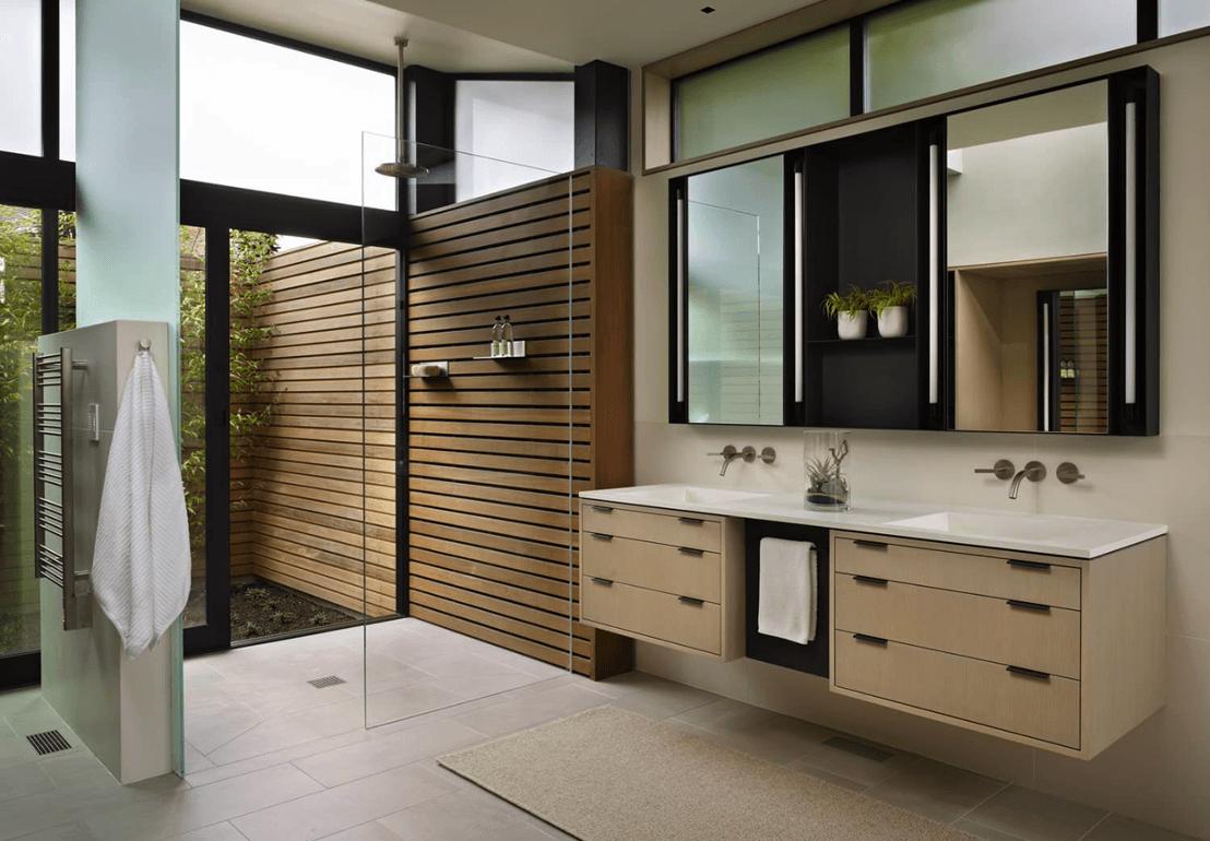 mais fotos de banheiros modernos clicando no link: banheiro moderno #5D4B34 1108 770
