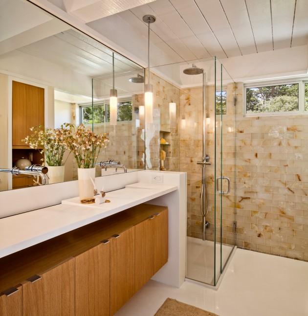 65 Banheiros Modernos Surpreendentes  Arquidic -> Banheiros Modernos Pastilhados