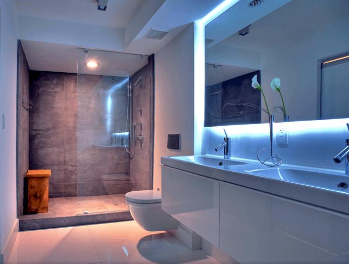 53 Banheiros Modernos Surpreendentes  Arquidicas -> Banheiros Com Pastilhas De Porcelanato