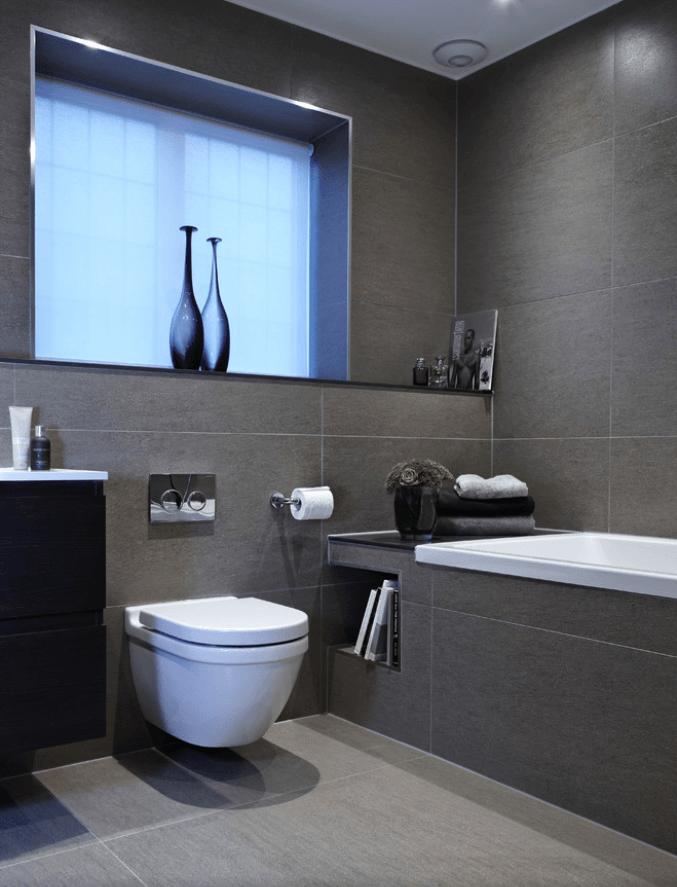 65 Banheiros Modernos Surpreendentes  Arquidicas -> Banheiros Modernos Em Preto E Branco