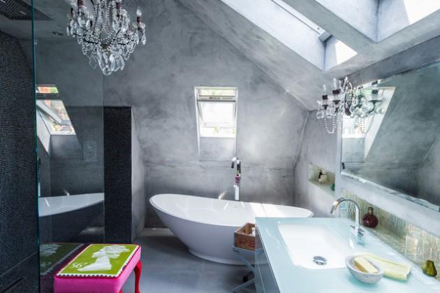 Banheiro Moderno Cimento Queimado
