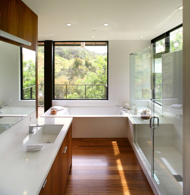 Banheiro Moderno Piso Madeira