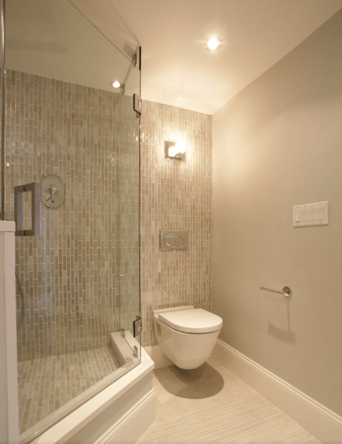 65 Banheiros Modernos Surpreendentes  Arquidicas -> Banheiro Com Azulejo Imitando Pastilha