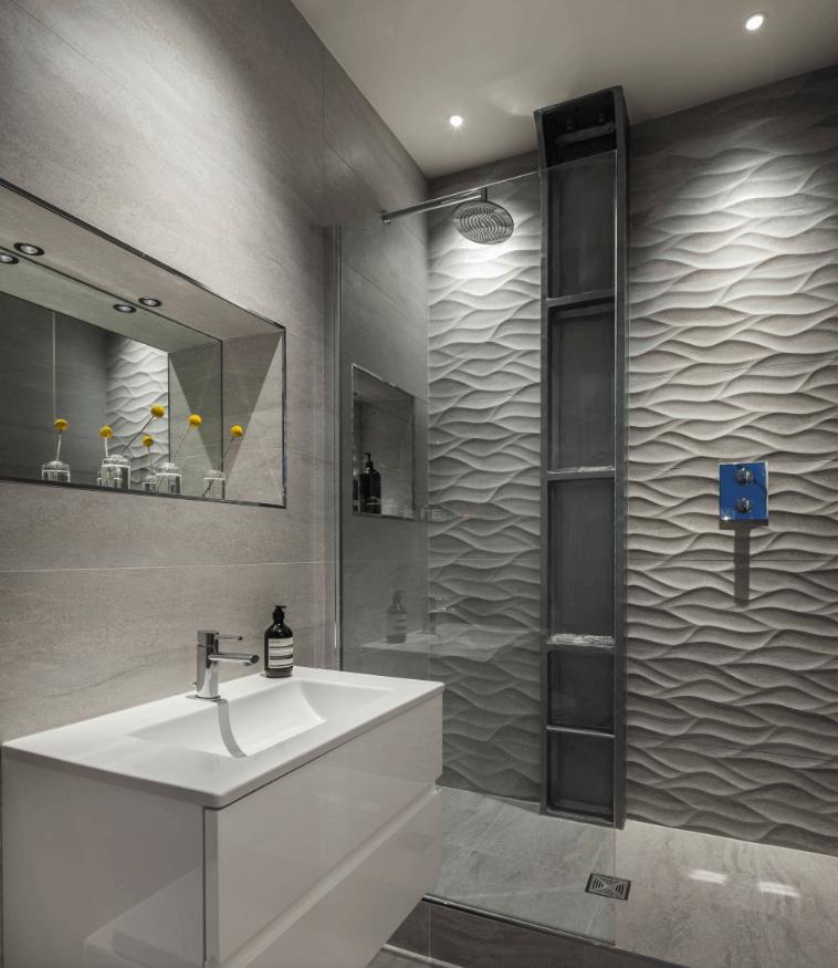 65 Banheiros Modernos Surpreendentes  Arquidicas -> Azulejo Banheiro Moderno