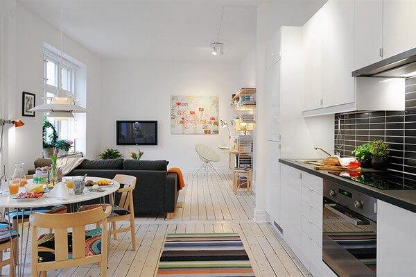 cozinha americana em apartamento pequeno