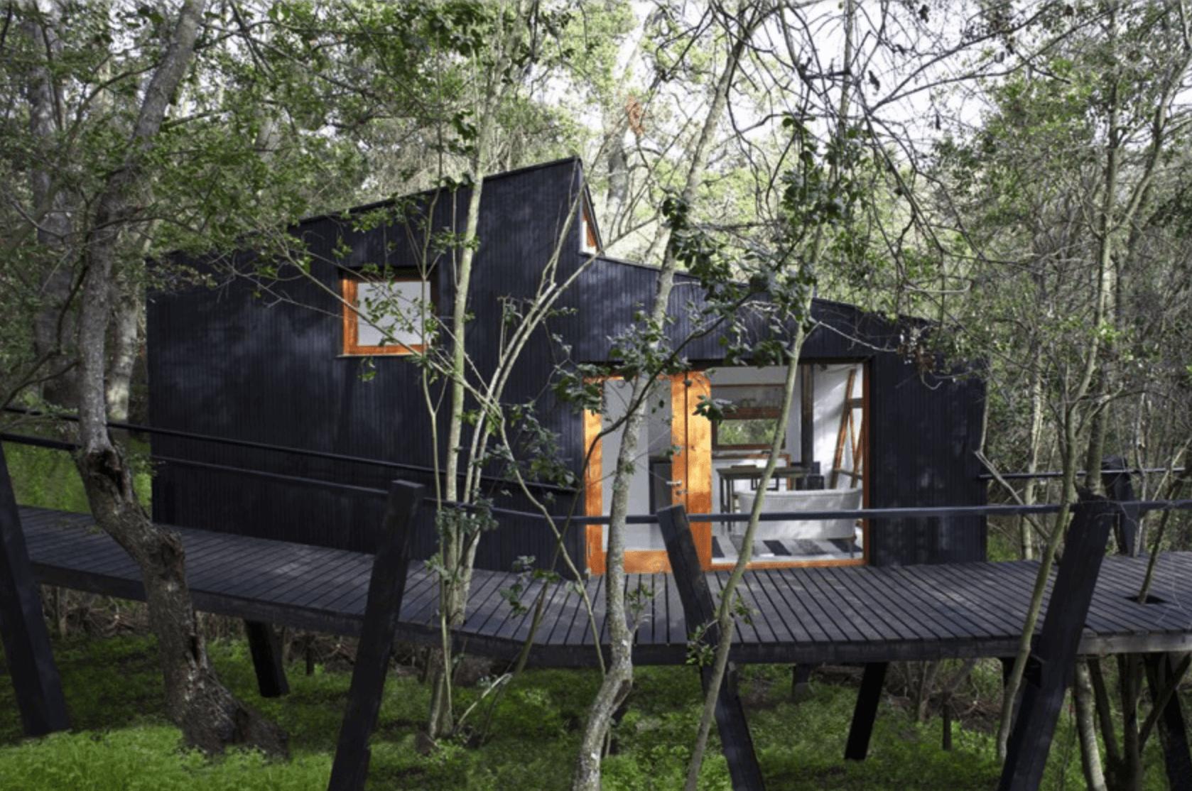 Casa de campo na floresta sobre pilotis.