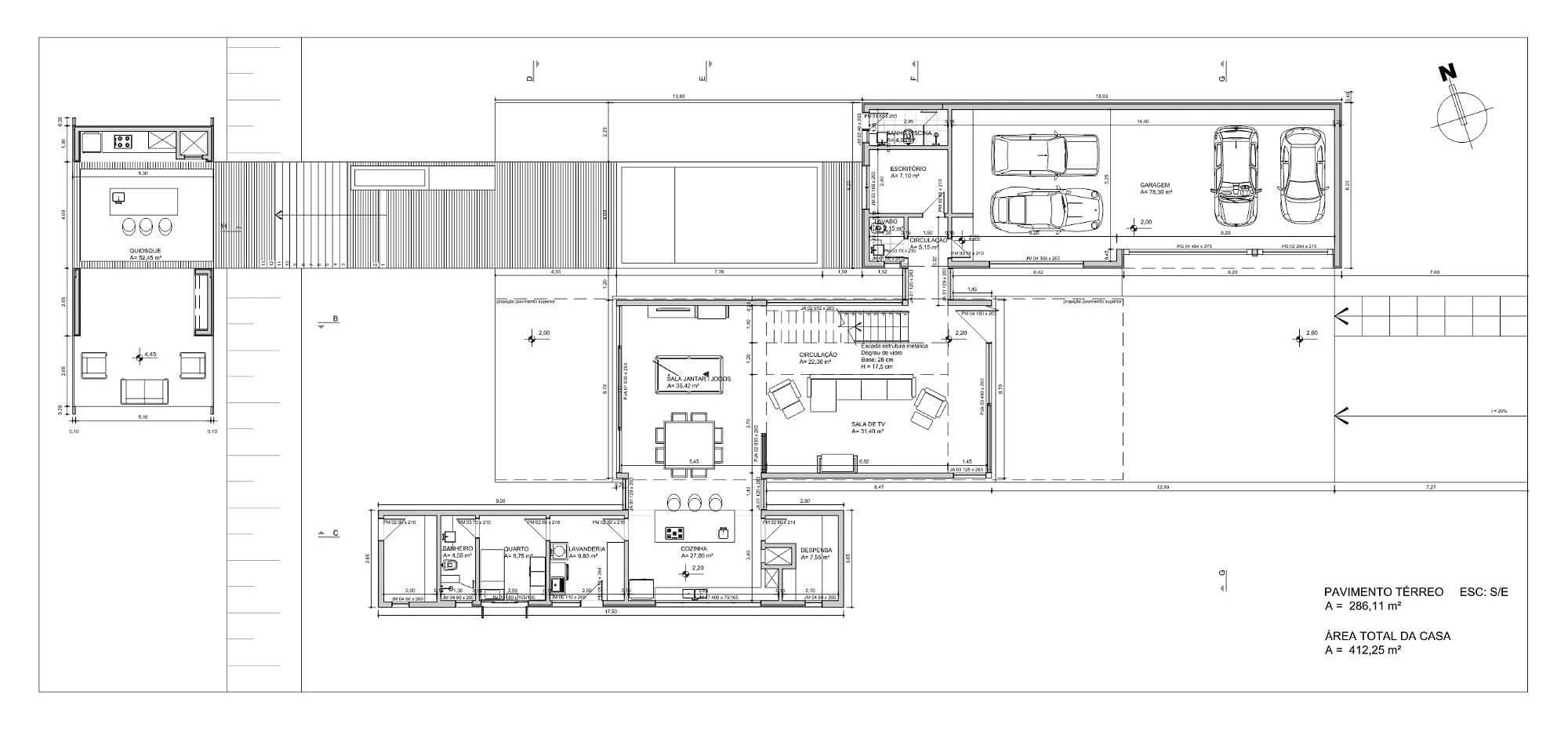 plantas de casas de quatro quartos