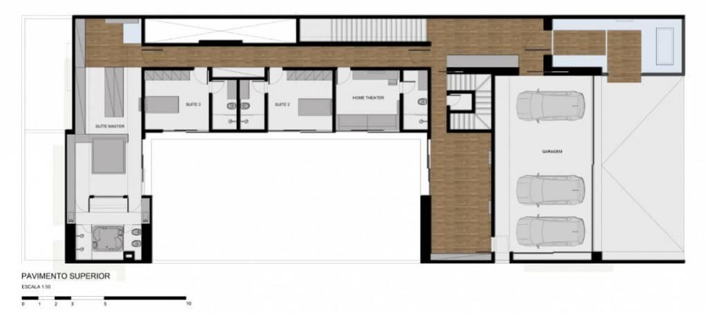 planta de casa com tres quartos