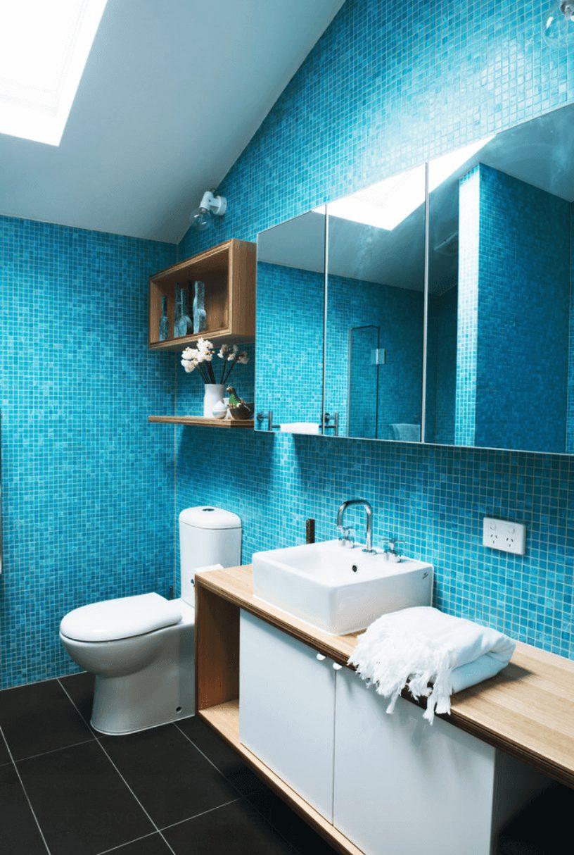 Banheiro com pastilha azul