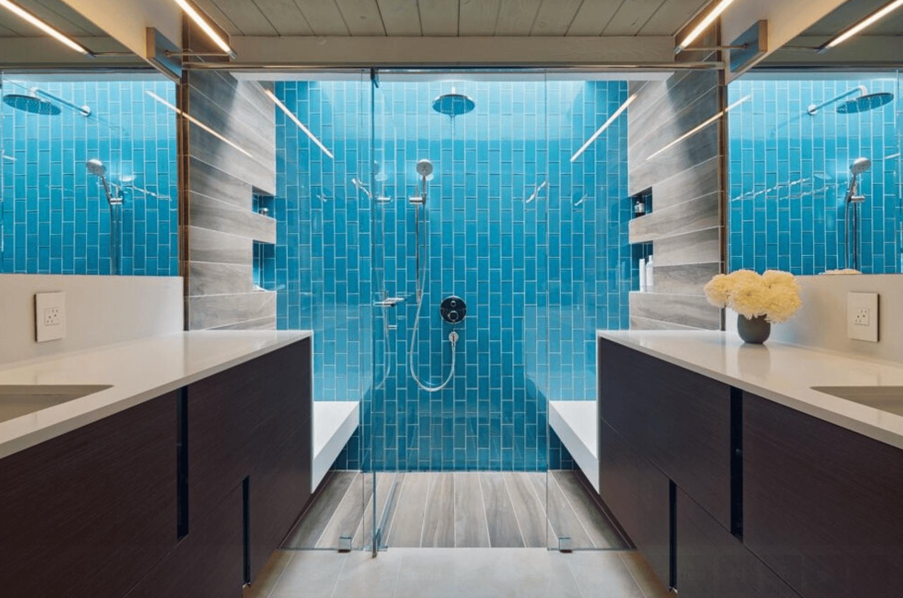 Banheiro Featured Pastilhas pisos e revestimentos #1E7794 1810x1200 Banheiro Com Revestimento Pastilhas
