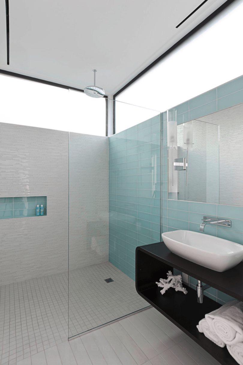 Banheiros com pastilhas azul