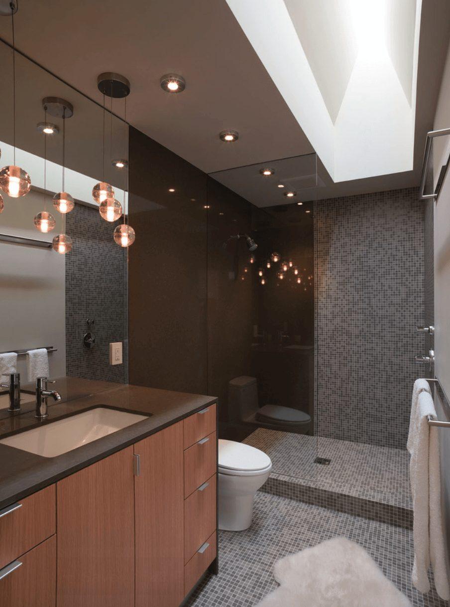 Banheiros com pastilhas marrom