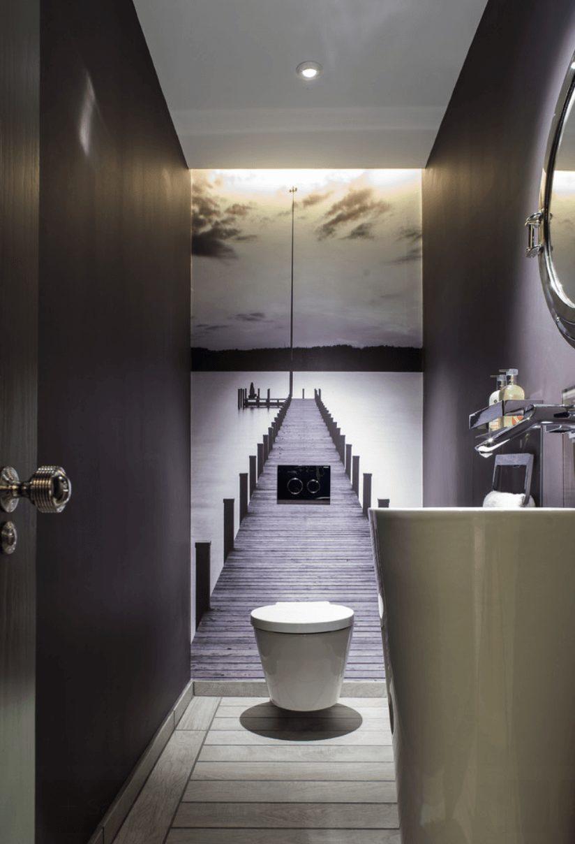 Banheiro bonito e contemporâneo