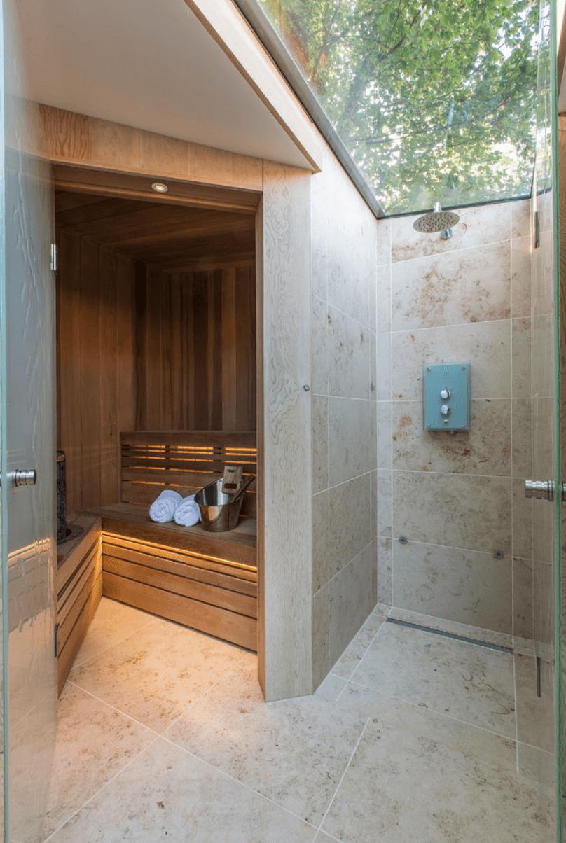 Banheiro chuveiro teto