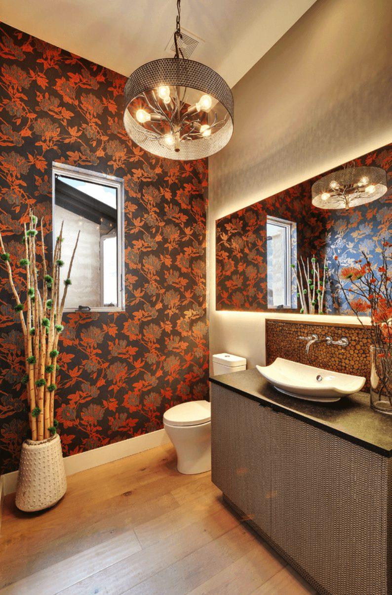 Banheiro papel de parede vermelho
