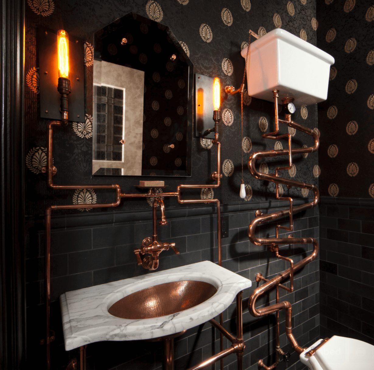 Banheiro preto e bronze