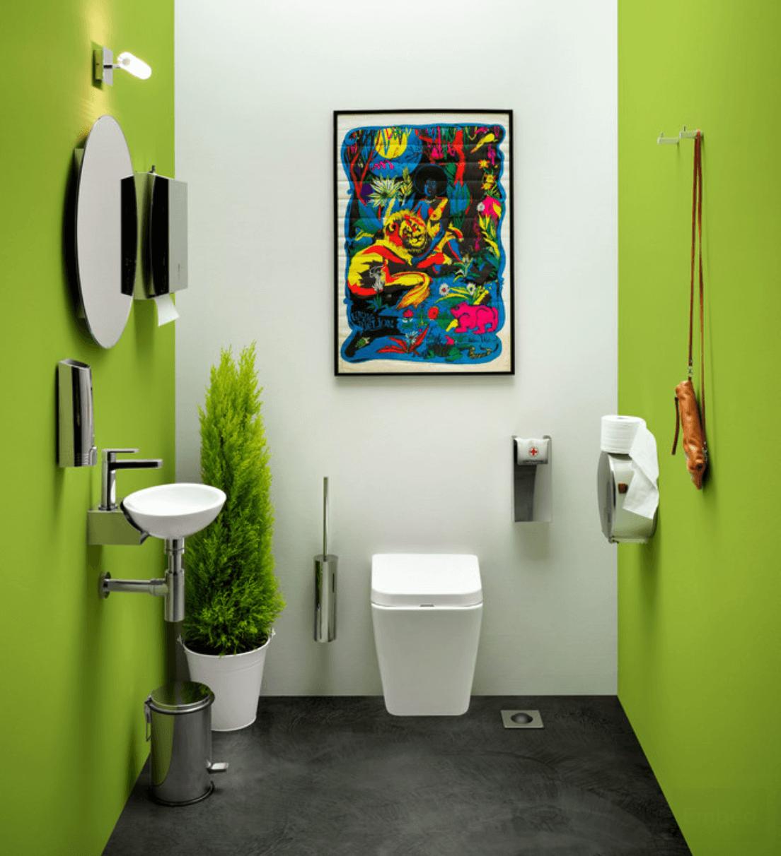 Banheiro verde decorado