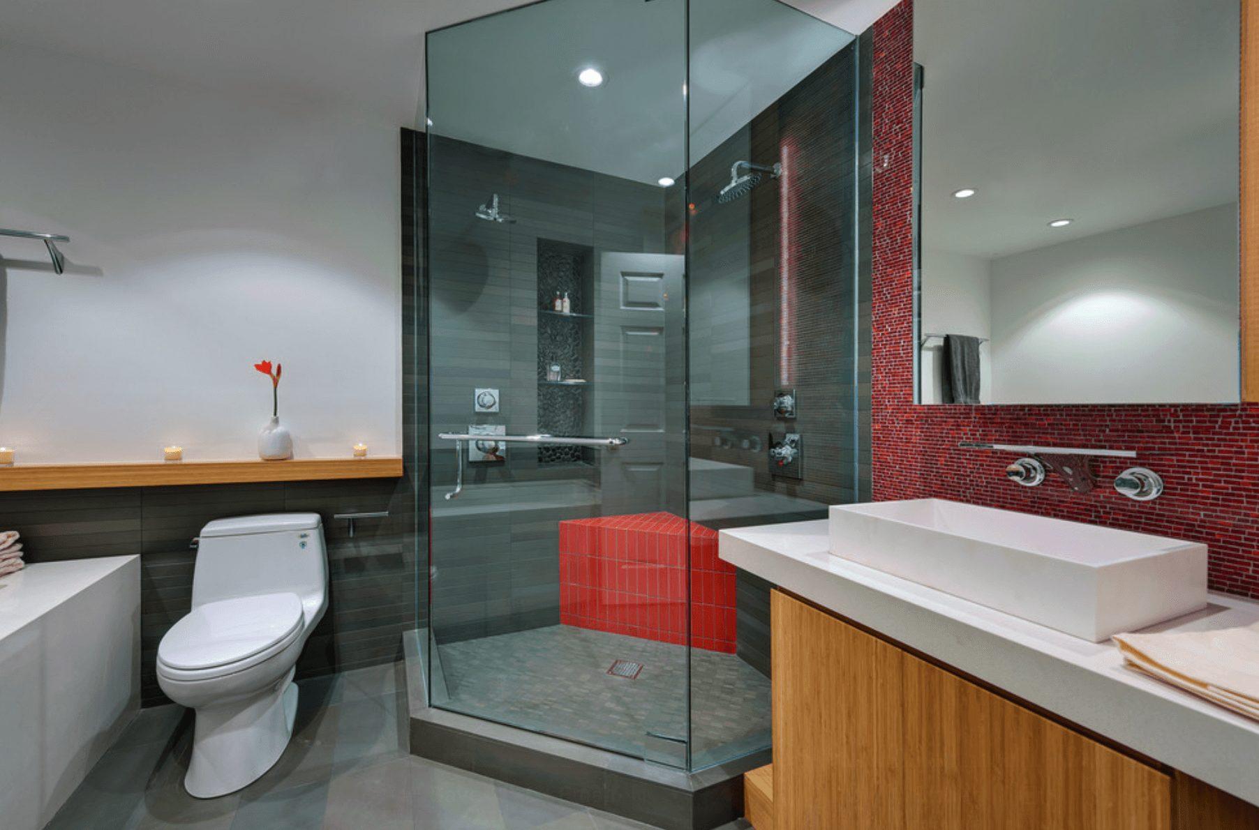 Banheiro moderno vermelho