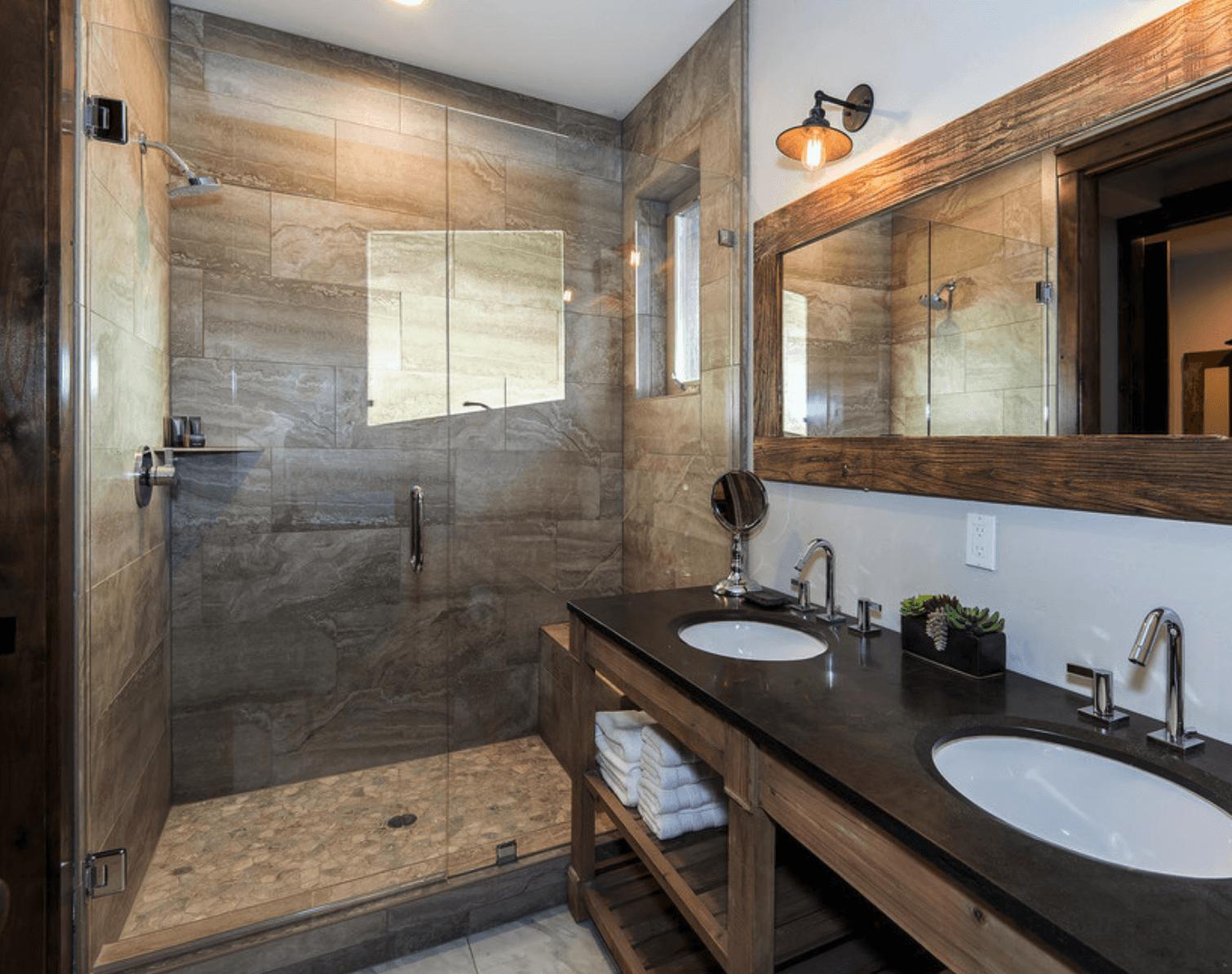 Fique agora com 30 modelos banheiros selecionados com varios estilos  #9E5D2D 1510x1194 Banheiro Com Porcelanato Rustico