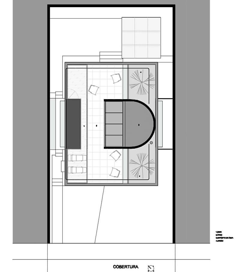 planta de cobertura casa mirante do horto