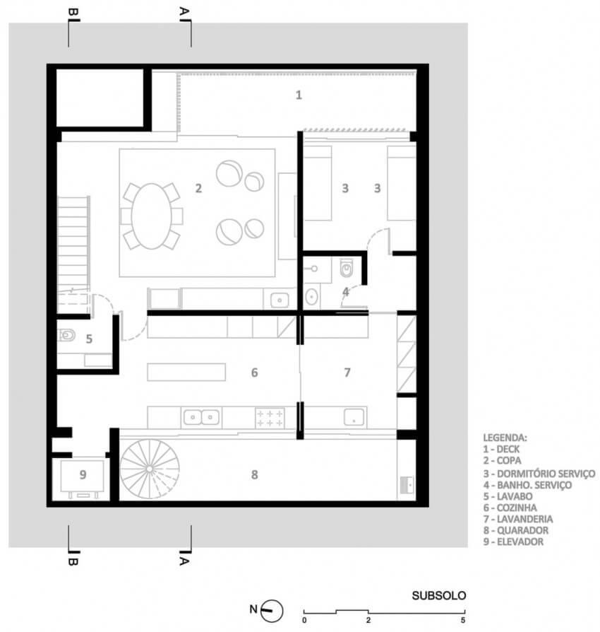 casa 12x12 planta do subsolo
