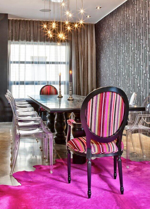 salas de jantar com papel de parede