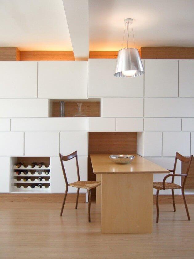 Mesa Para Sala Jantar Pequena ~ Cores escuras podem ser usadas para criar uma ilusão espacial de