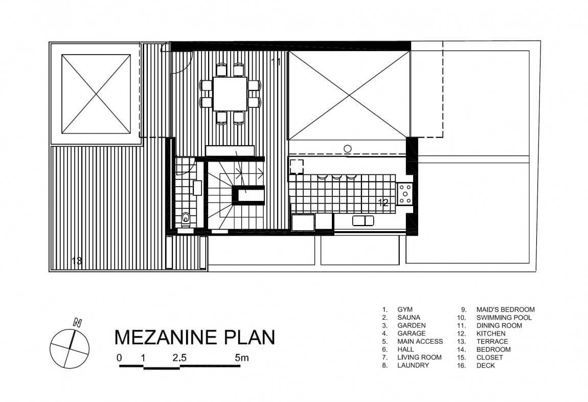 Mezanino sobre o térreo, onde fica a cozinha e sala de jantar.