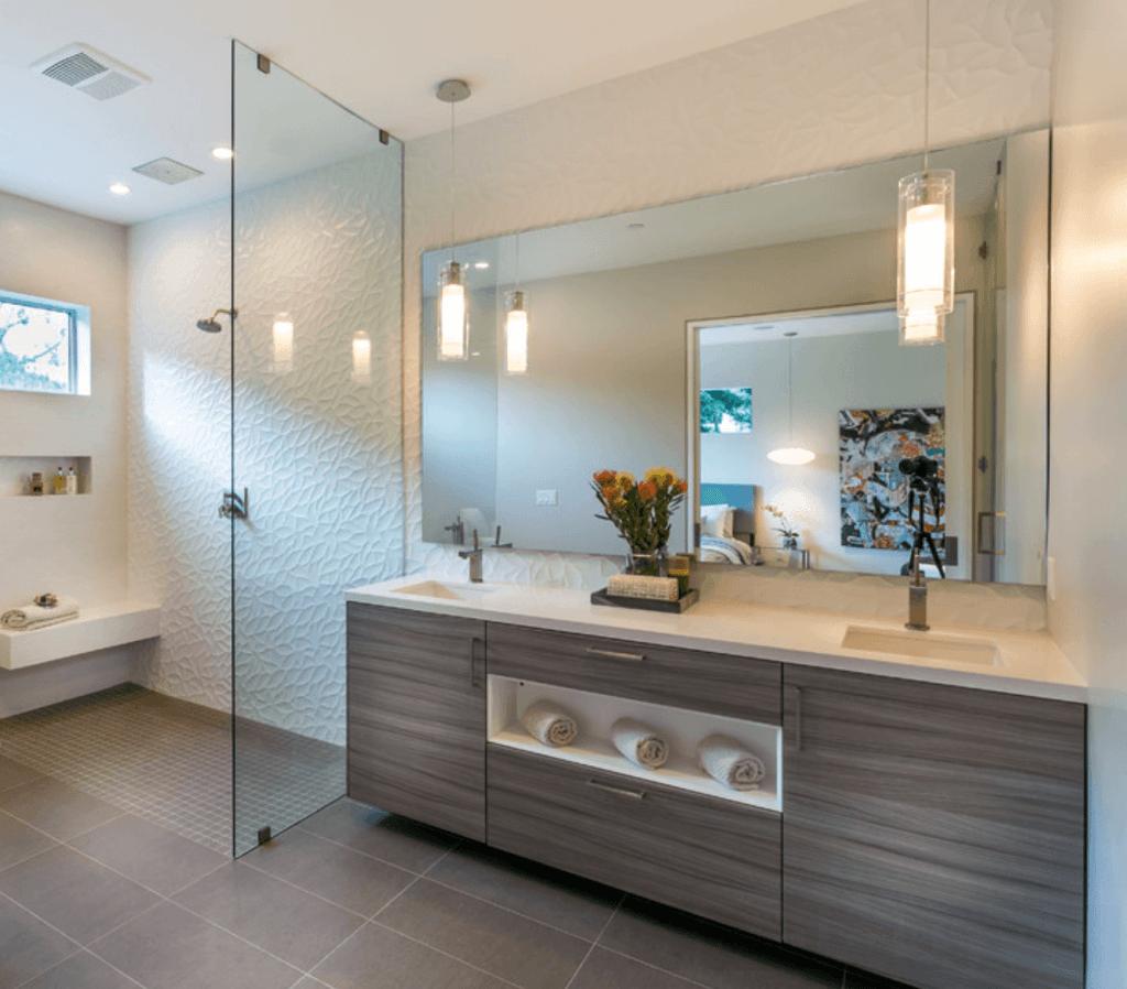 25 Banheiros Planejados Arquidicas #7F684C 1024x898 Banheiro Armario Planejado