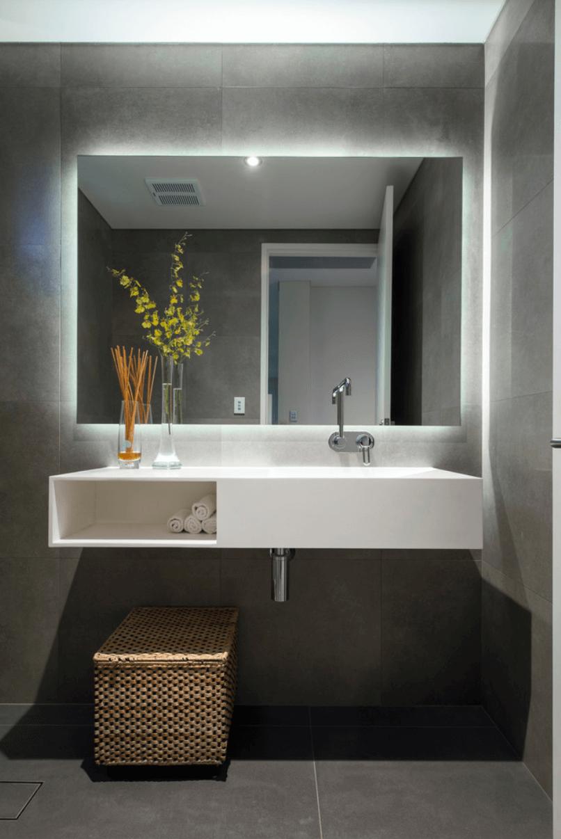 25 Banheiros Planejados  Arquidicas -> Banheiro Planejado Pia