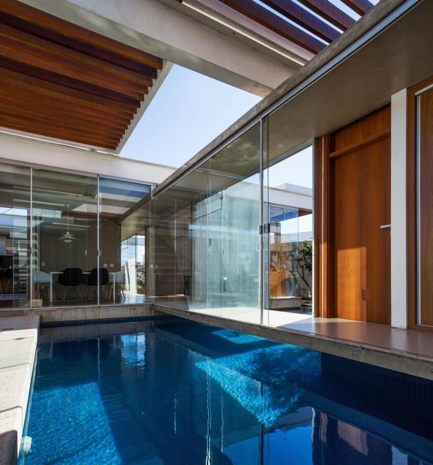 espelho de água casa pérgolas