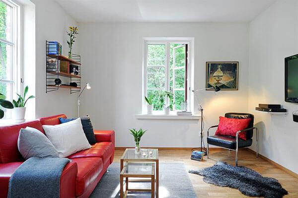Decoração barata de sala pequena