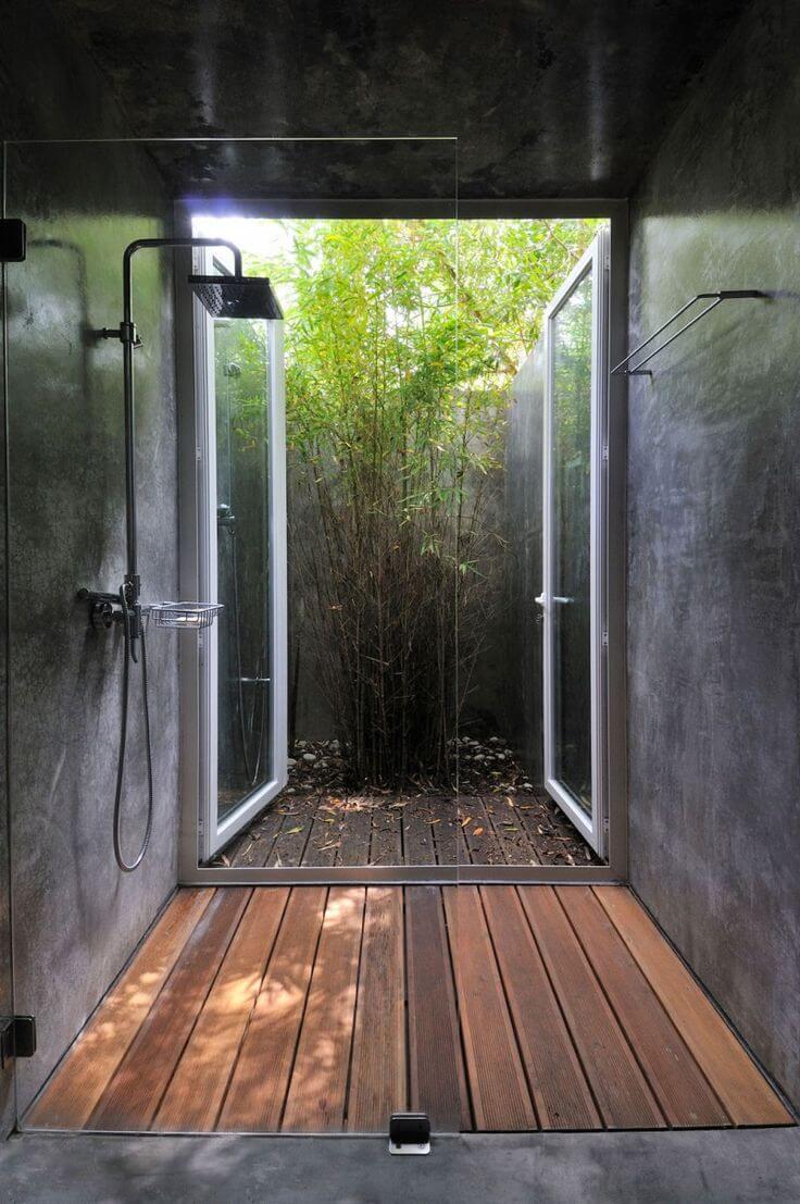 chuveiro com jardim