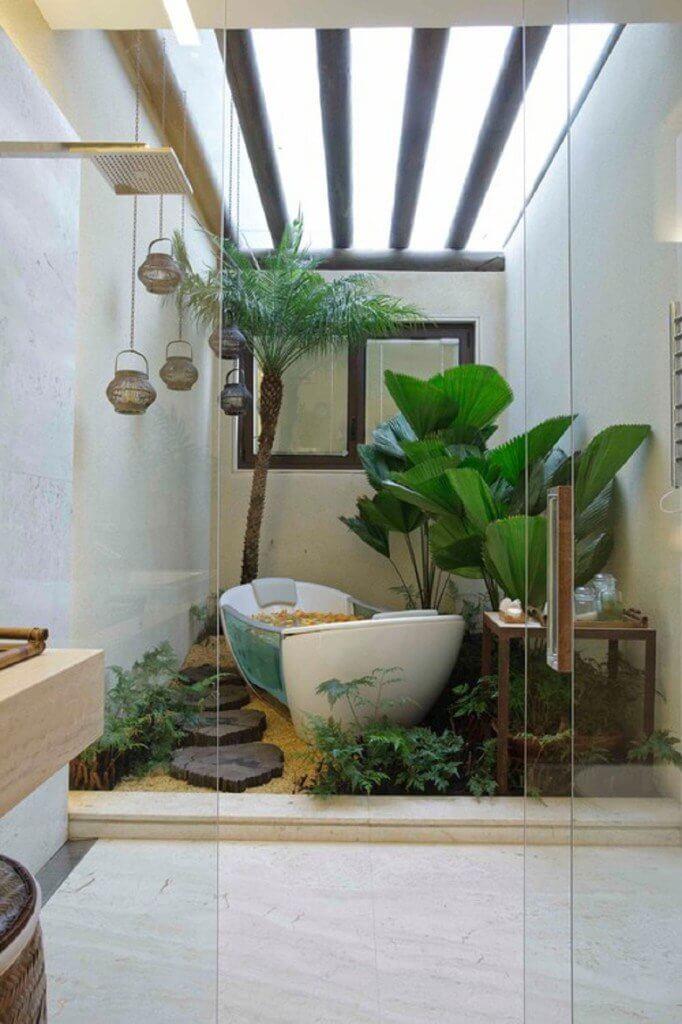 jardim de inverno com banheiro