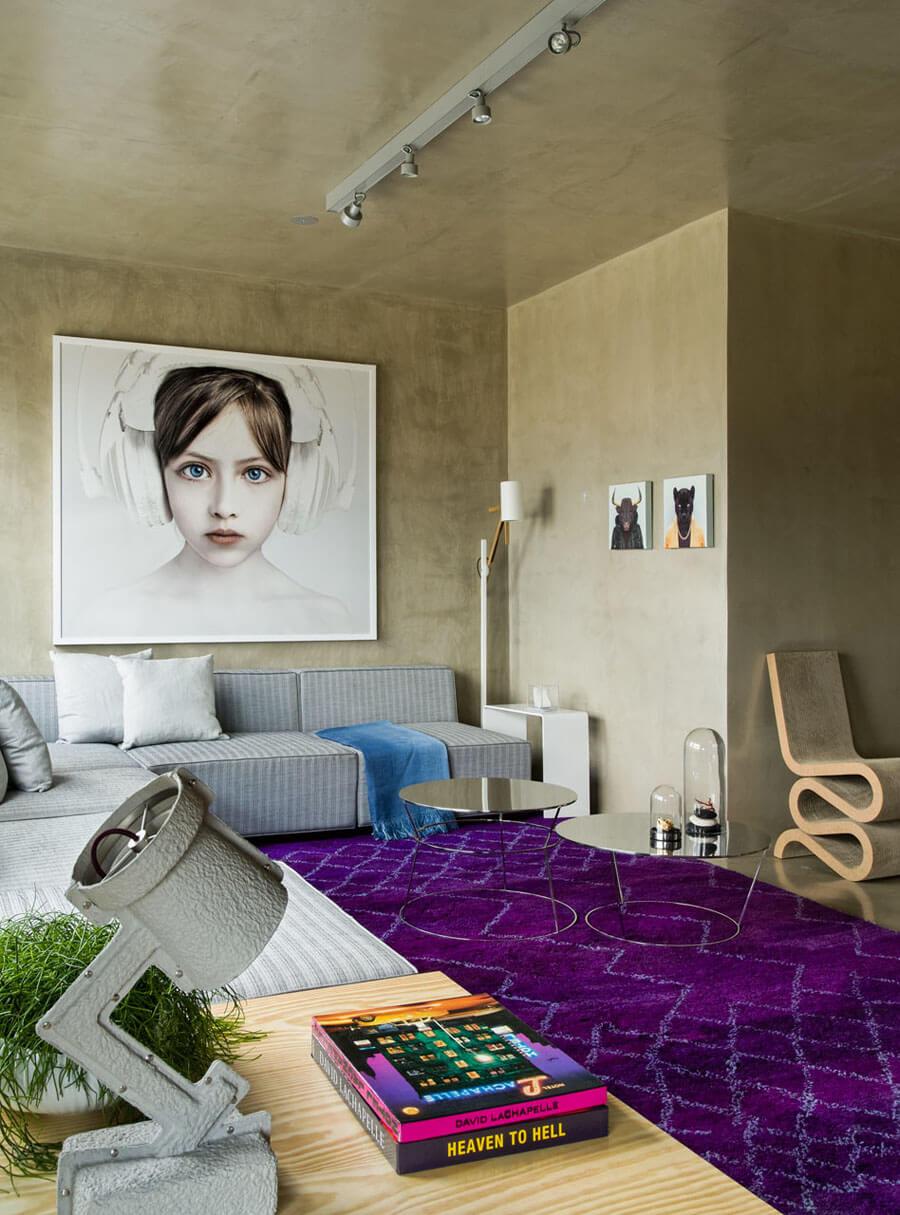 Sala de estar pequena concreto