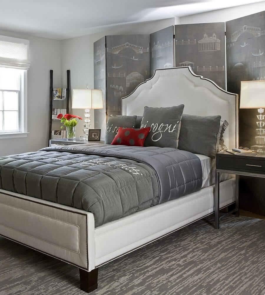 quarto de casal decorado cinza