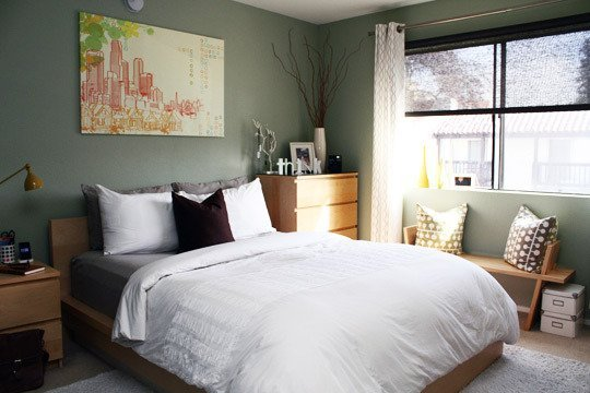 quarto de casal decorado neutro