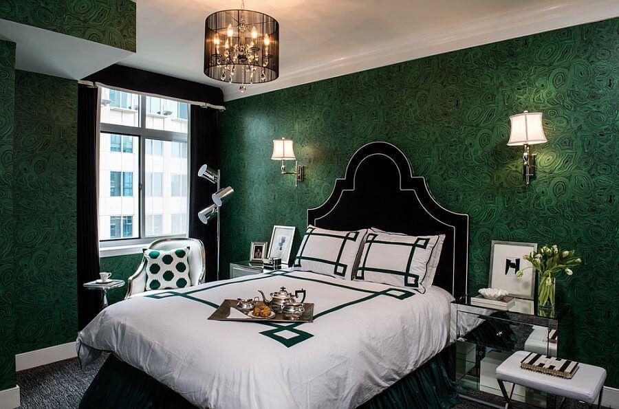quartos de casal decorados com papel de parede