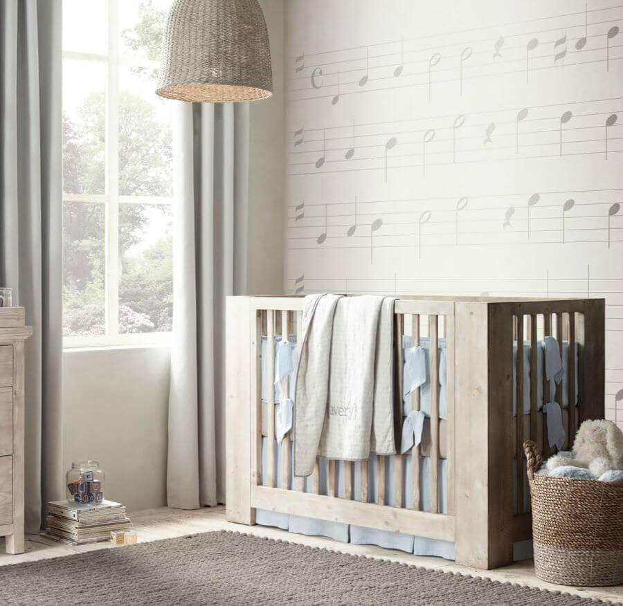 quarto de bebe decorado com papel de parede