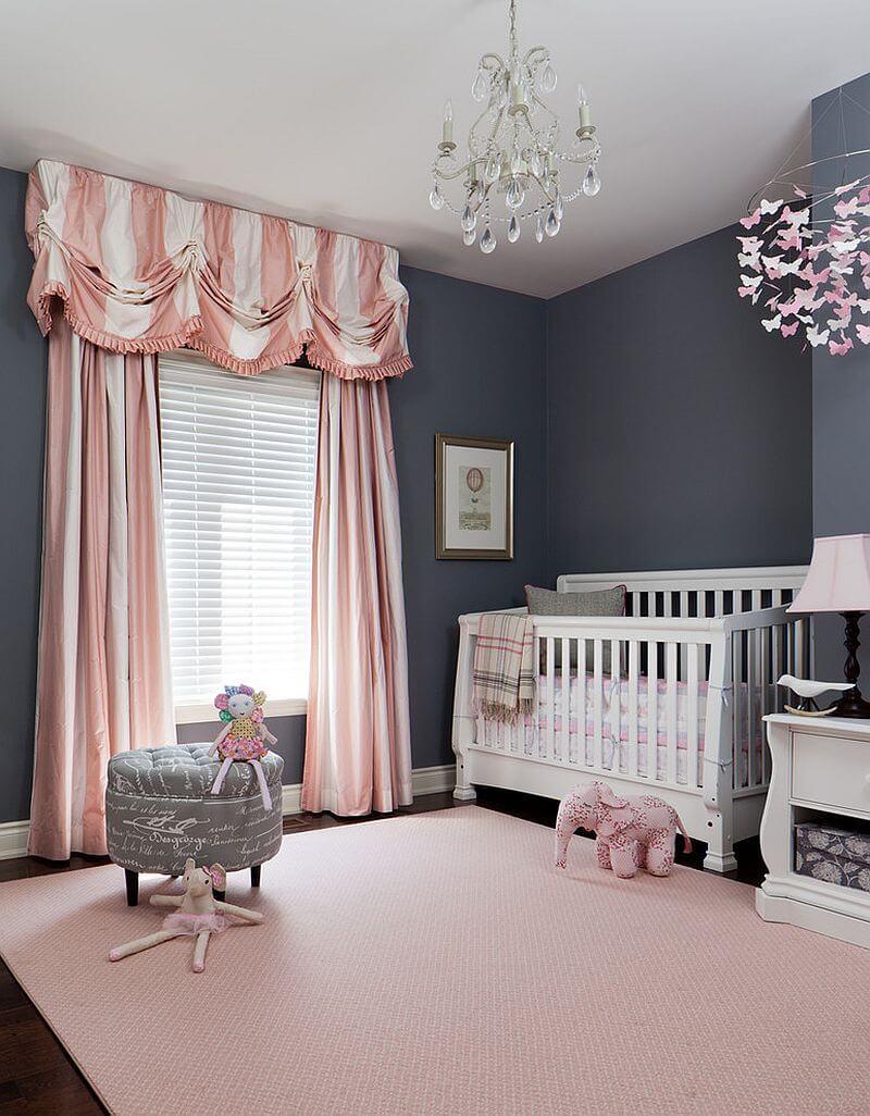 quarto de bebe rosa e cinza