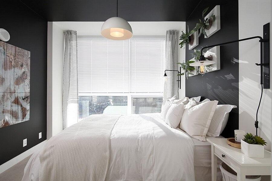 quarto de casal decorado pequeno