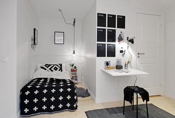 quarto de solteiro decorado pequeno